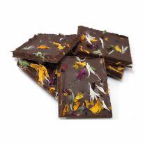 Feinbitter Schokolade mit Minzegeschmack und zartem Blütendekor