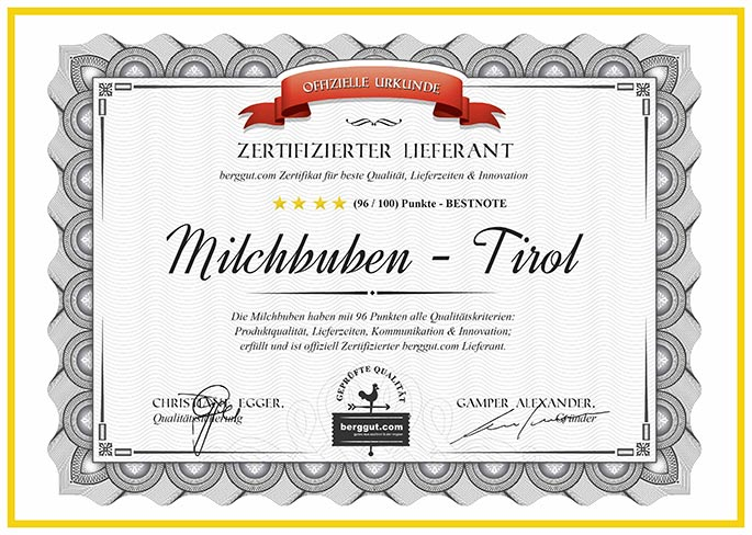Zertifizierter Lieferant - Milchbuben Tirol