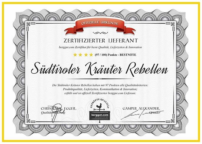 Zertifizierter Lieferant - Südtiroler Kräuter Rebellen