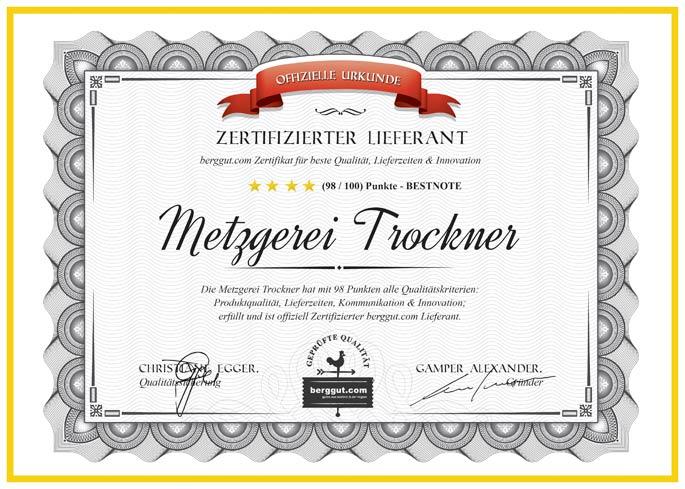 Zertifizierter Lieferant - Metzgerei Trockner